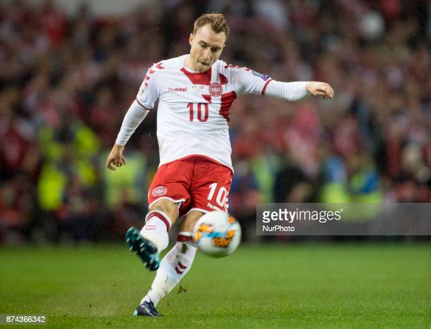 Christian Eriksen of Denmark takes a free kick during the FIFA World Cup 2018 PlayOff match between Republic of Ireland and Denmark at Aviva Stadium...