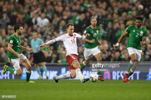 Christian Eriksen of Denmark takes on the Republic of Ireland defence during the FIFA 2018 World Cup Qualifier PlayOff Second Leg between Republic of...