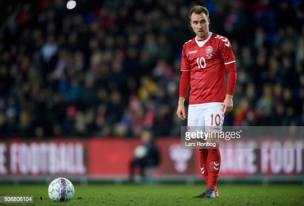 Christian Eriksen of Denmark waiting before a free kick during the International friendly match between Denmark and Panama at Brondby Stadion on...