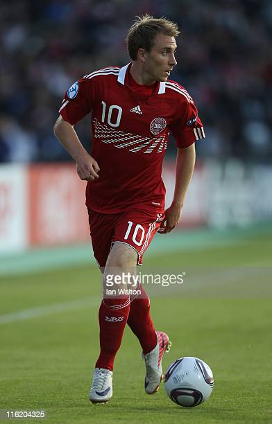 Christian Eriksen of Denmarkin action during the UEFA European Under21 Championship Group A match between Denmark and Belarus at the Aarhus stadium...