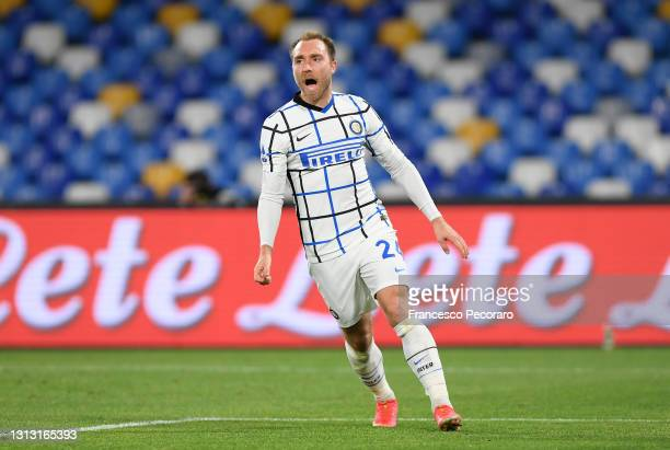 Christian Eriksen of FC Internazionale celebrates after scoring their team's first goal during the Serie A match between SSC Napoli and FC...