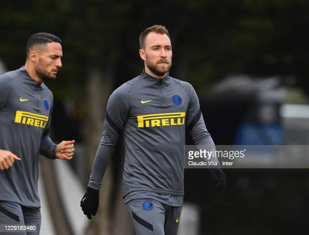 Christian Eriksen of FC Internazionale in action during a training session ahead of the UEFA Champions League Group B stage match between FC...