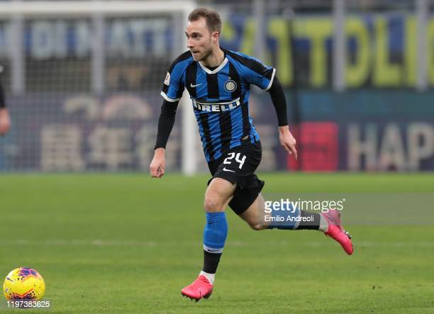 Christian Eriksen of FC Internazionale in action during the Coppa Italia Quarter Final match between FC Internazionale and ACF Fiorentina at San Siro...