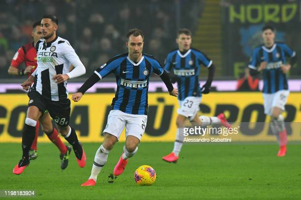 Christian Eriksen of FC Internazionale in action during the Serie A match between Udinese Calcio and FC Internazionale at Stadio Friuli on February...