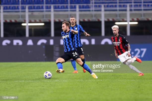 Christian Eriksen of FC Internazionale in action during the Serie A match between FC Internazionale and Ac Milan Ac Milan wins 21 over Fc...