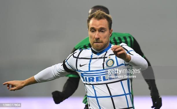 Christian Eriksen of FC Internazionale in action during the Serie A match between US Sassuolo and FC Internazionale at Mapei Stadium - Città del...