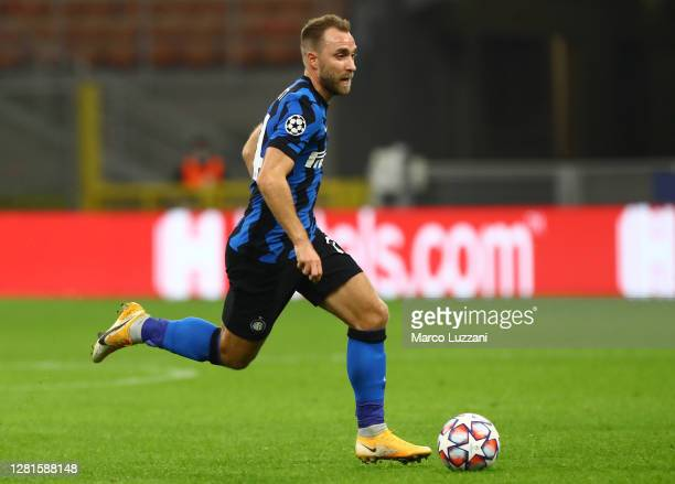 Christian Eriksen of FC Internazionale in action during the UEFA Champions League Group B stage match between FC Internazionale and Borussia...