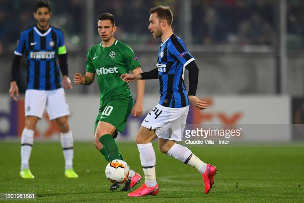 Christian Eriksen of FC Internazionale in action during the UEFA Europa League round of 32 first leg match between PFC Ludogorets Razgrad and FC...