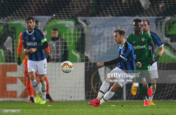 Christian Eriksen of FC Internazionale in action during the UEFA Europa League round of 16 first leg match between PFC Ludogorets Razgrad and FC...