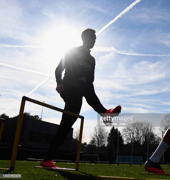 Christian Eriksen of FC Internazionale looks on during FC Internazionale training session at Appiano Gentile on February 21 2020 in Como Italy