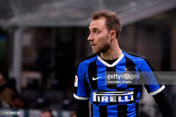 Christian Eriksen of Inter during the Italian Coppa Italia match between Internazionale v Fiorentina at the San Siro on January 29, 2020 in Milan...