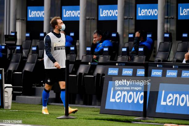 Christian Eriksen of Inter Milan during the Italian Serie A match between Internazionale v AC Milan at the San Siro on October 17 2020 in Milan Italy