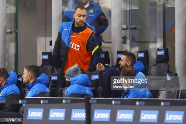 Christian Eriksen of Inter Milan is seen on the bench during the Serie A match between FC Internazionale and Spezia Calcio at Stadio Giuseppe Meazza...