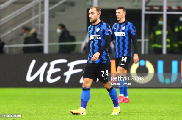 Christian Eriksen of Inter Milan reacts at full-time after the UEFA Champions League Group B stage match between FC Internazionale and Shakhtar...