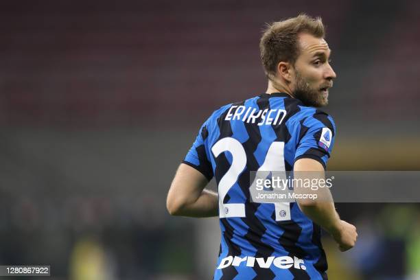 Christian Eriksen of Internazionale looks over his shoulder during the Serie A match between FC Internazionale and AC Milan at Stadio Giuseppe Meazza...