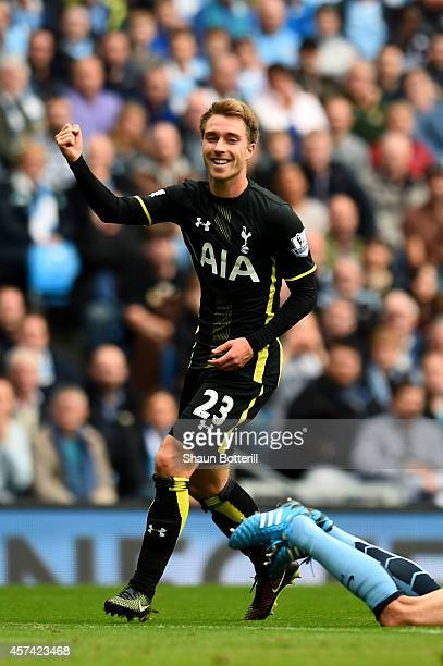 Christian Eriksen of Spurs celebrates after scoring a goal to level the scores at 11 during the Barclays Premier League match between Manchester City...