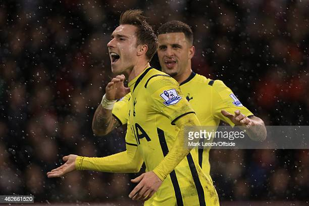 Christian Eriksen of Spurs celebrates after scoring their 1st goal during the Capital One Cup SemiFinal Second Leg match between Sheffield United and...