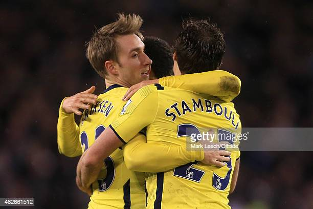 Christian Eriksen of Spurs celebrates victory with his teammates during the Capital One Cup SemiFinal Second Leg match between Sheffield United and...