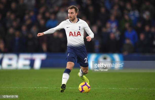 Christian Eriksen of Spurs in action during the Premier League match between Cardiff City and Tottenham Hotspur at Cardiff City Stadium on January 1...