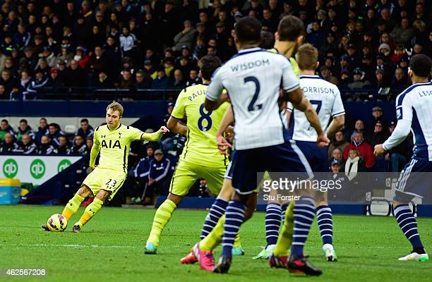 Christian Eriksen of Spurs score the opening goal with a free kick during the Barclays Premier League match between West Bromwich Albion and...