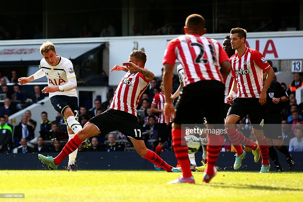 Christian Eriksen of Spurs scores the opening goal during the Barclays Premier League match between Tottenham Hotspur and Southampton at White Hart Lane on October 5, 2014 in London, England.