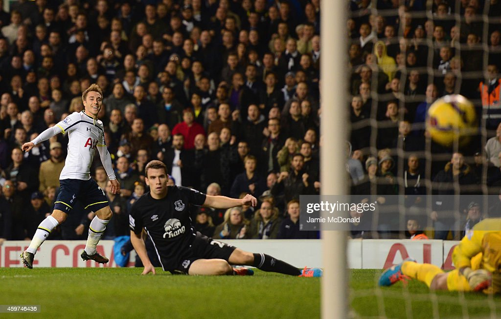Christian Eriksen of Spurs scores their first goal during the Barclays Premier League match between Tottenham Hotspur and Everton at White Hart Lane on November 30, 2014 in London, England.