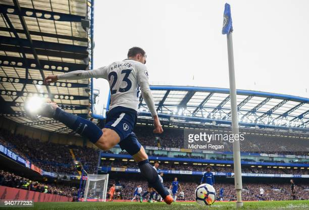 Christian Eriksen of Spurs takes a corner during the Premier League match between Chelsea and Tottenham Hotspur at Stamford Bridge on April 1 2018 in...