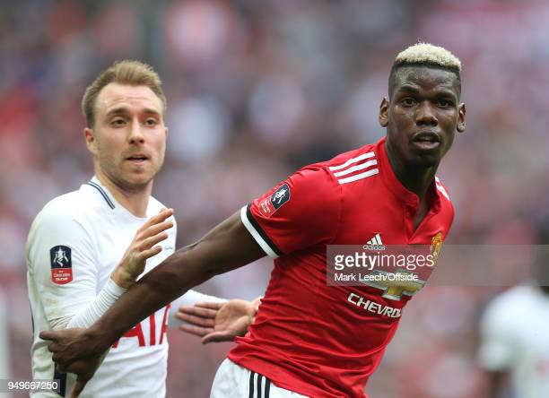 Christian Eriksen of Tottenham and Paul Pogba of Man Utd during the FA Cup semi final between Manchester United and Tottenham Hotspur at Wembley...