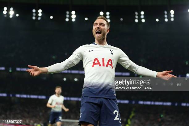Christian Eriksen of Tottenham celebrates after scoring a goal to make it 10 during the Premier League match between Tottenham Hotspur and Brighton...