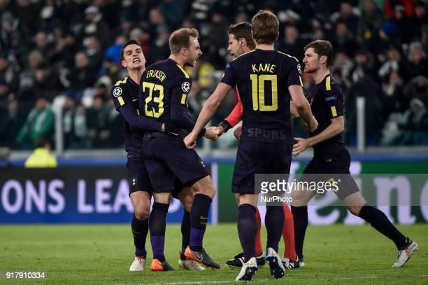 Christian Eriksen of Tottenham celebrates scoring second goal during the UEFA Champions League Round of 16 match between Juventus and Tottenham...