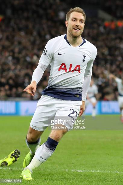 Christian Eriksen of Tottenham celebrates scoring the opening goal during the Group B match of the UEFA Champions League between Tottenham Hotspur...