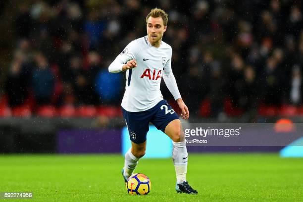 Christian Eriksen of Tottenham during Premier League match between Tottenham Hotspur against Brighton and Hove Albion at Wembley stadium London...