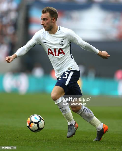 Christian Eriksen of Tottenham during the FA Cup semi final between Manchester United and Tottenham Hotspur at Wembley Stadium on April 21 2018 in...