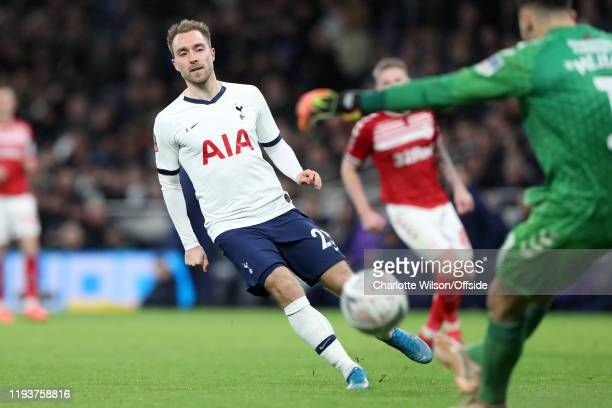 Christian Eriksen of Tottenham during the FA Cup Third Round Replay match between Tottenham Hotspur and Middlesbrough at Tottenham Hotspur Stadium on...