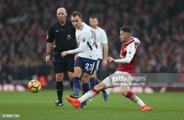 Christian Eriksen of Tottenham during the Premier League match between Arsenal and Tottenham Hotspur at Emirates Stadium on November 18 2017 in...