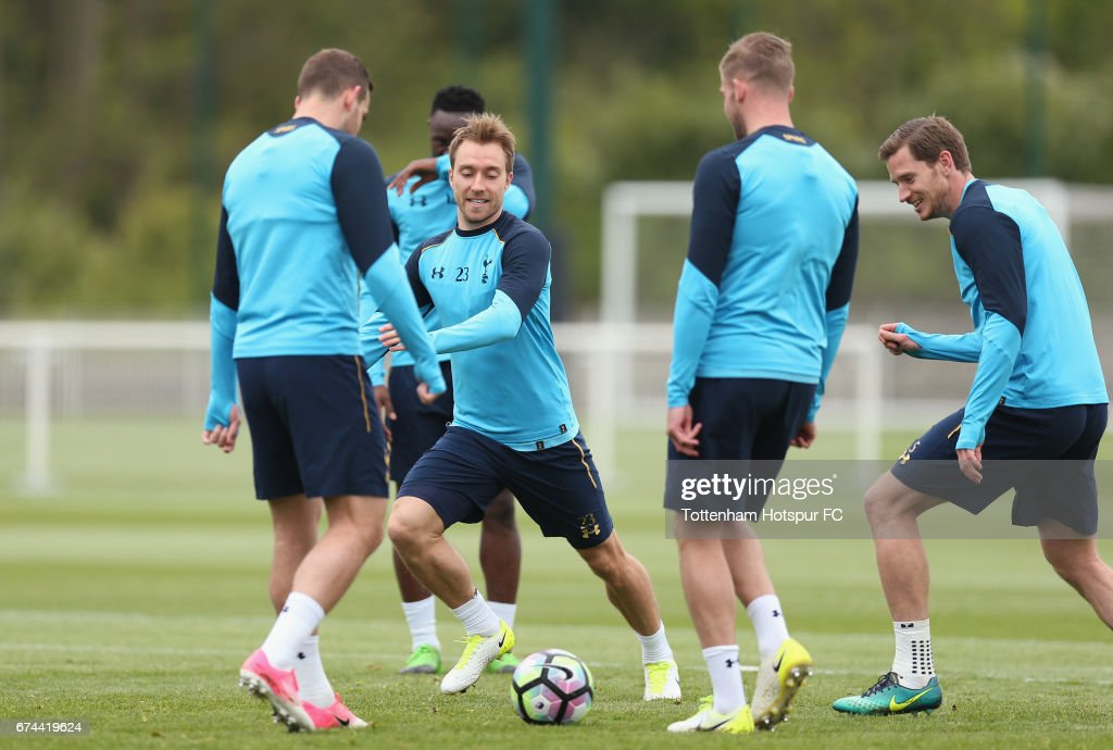 Christian Eriksen of Tottenham during the Tottenham Hotspur training session at Tottenham Hotspur Training Centre on April 28, 2017 in Enfield, England.