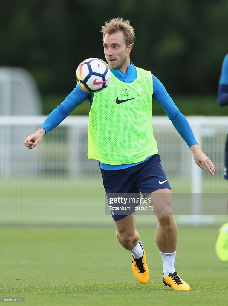 Christian Eriksen of Tottenham during the Tottenham Hotspur training session at Tottenham Hotspur Training Centre on August 17, 2017 in Enfield, England.