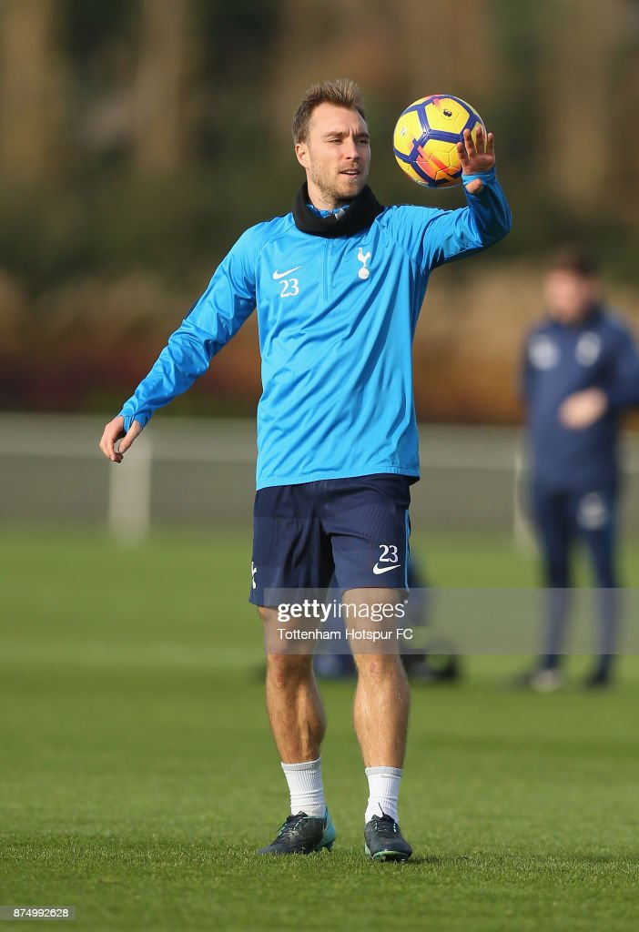 Christian Eriksen of Tottenham during the Tottenham Hotspur training session at Tottenham Hotspur Training Centre on November 16, 2017 in Enfield, England.