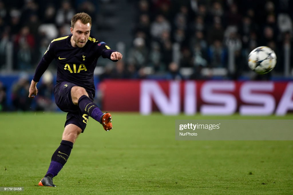 Christian Eriksen of Tottenham during the UEFA Champions League Round of 16 match between Juventus and Tottenham Hotspur at the Juventus Stadium, Turin, Italy on 13 February 2018.