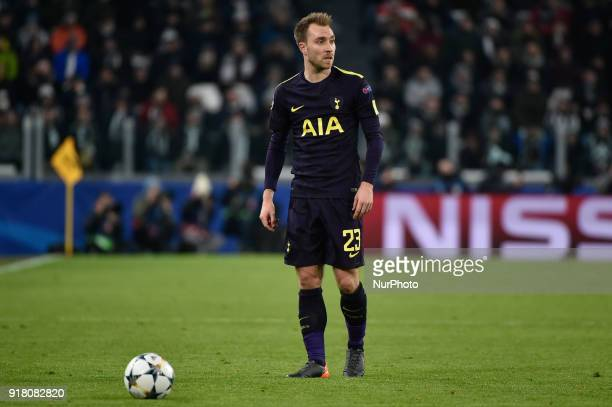 Christian Eriksen of Tottenham during the UEFA Champions League Round of 16 match between Juventus and Tottenham Hotspur at the Juventus Stadium...