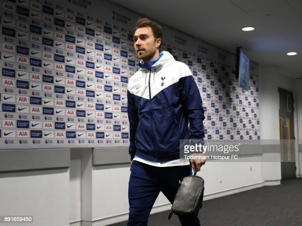 Christian Eriksen of Tottenham Hostur arrives during the Premier League match between Tottenham Hotspur and Brighton and Hove Albion at Wembley...