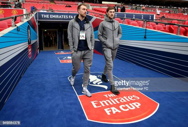 Christian Eriksen of Tottenham Hotspur and Ben Davies of Tottenham Hotspur arrives at the stadium prior to The Emirates FA Cup Semi Final match...