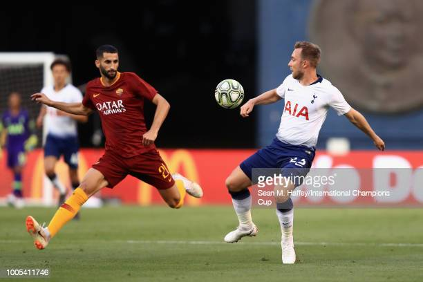 Christian Eriksen of Tottenham Hotspur and Maxime Gonalons of AS Roma in action during an International Champions Cup match at SDCCU Stadium on July...