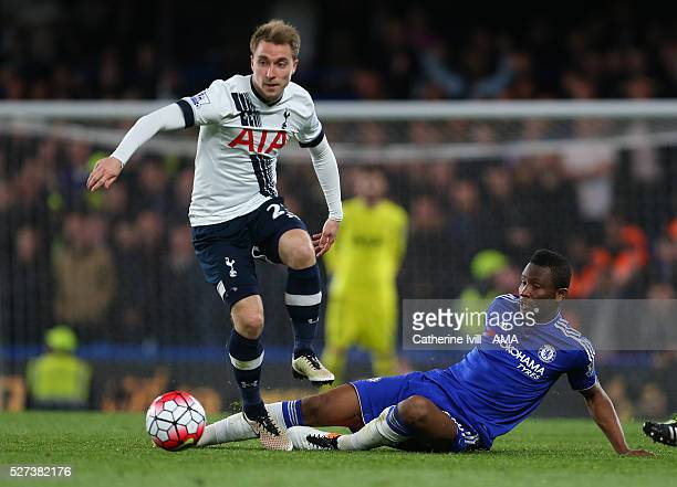 Christian Eriksen of Tottenham Hotspur and Mikel John Obi of Chelsea during the Barclays Premier League match between Chelsea and Tottenham Hotspur...