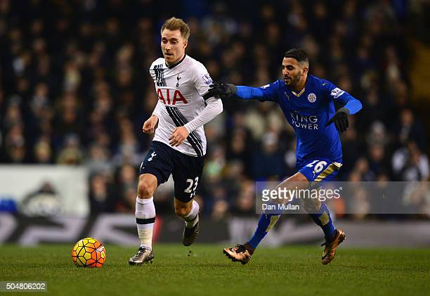 Christian Eriksen of Tottenham Hotspur and Riyad Mahrez of Leicester City compete for the ball during the Barclays Premier League match between...