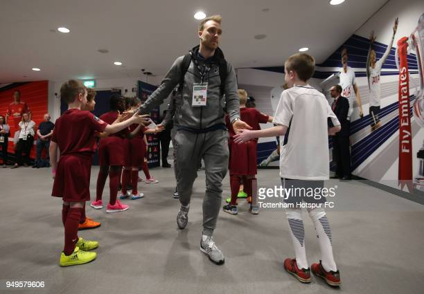 Christian Eriksen of Tottenham Hotspur arrives at the stadium prior to The Emirates FA Cup Semi Final match between Manchester United and Tottenham...