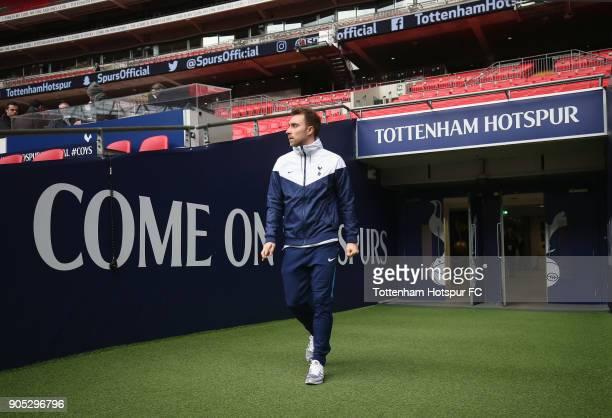 Christian Eriksen of Tottenham Hotspur arrives prior to the Premier League match between Tottenham Hotspur and Everton at Wembley Stadium on January...