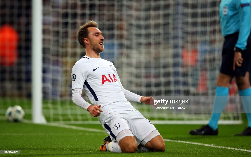 Christian Eriksen of Tottenham Hotspur celebrates after he scores a goal to make it 3-0 during the UEFA Champions League group H match between Tottenham Hotspur and Real Madrid at Wembley Stadium on November 1, 2017 in London, United Kingdom.