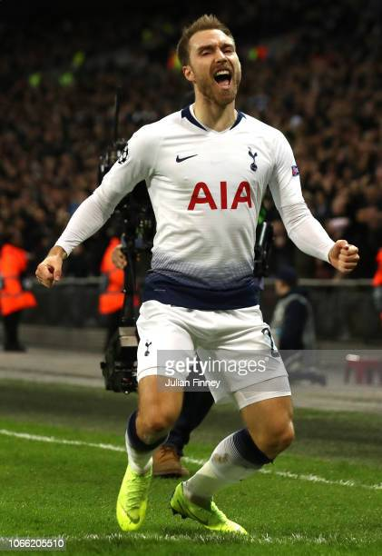 Christian Eriksen of Tottenham Hotspur celebrates after he scores his sides first goal during the UEFA Champions League Group B match between...