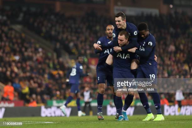 Christian Eriksen of Tottenham Hotspur celebrates after scoring a goal to make it 11 during the Premier League match between Norwich City and...